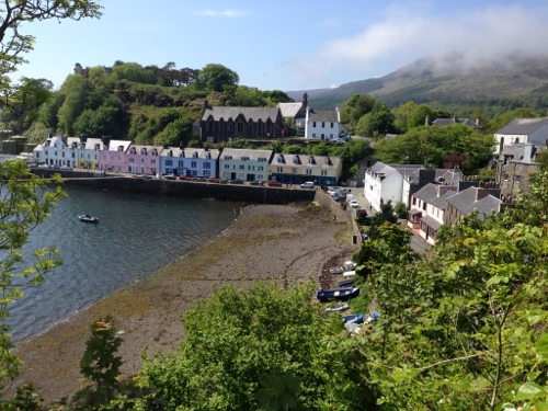 Looking own on Portree old town