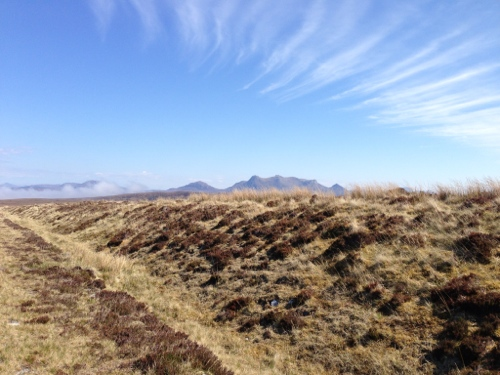 Moorland and whispy clouds