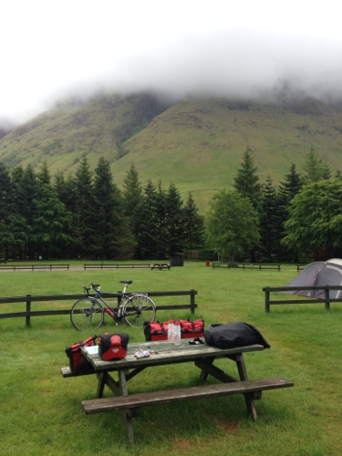 Packing up - a wet day with Ben Nevis opposite