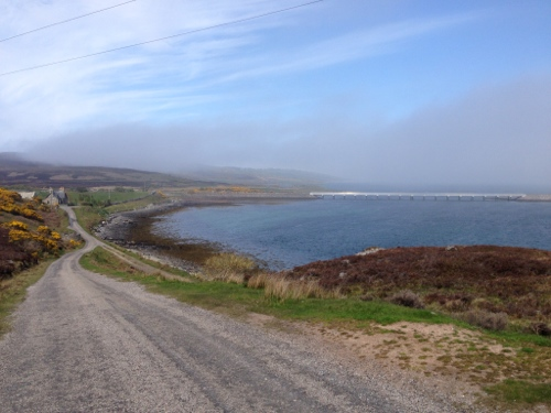Road around Kyle of Tongue 4 - bridge and haar rolling in