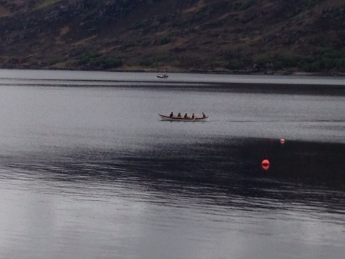 Rowing skiff out practicing in the bay
