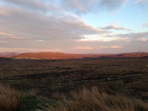 Sun going down illuminating the landscape in colourful ways