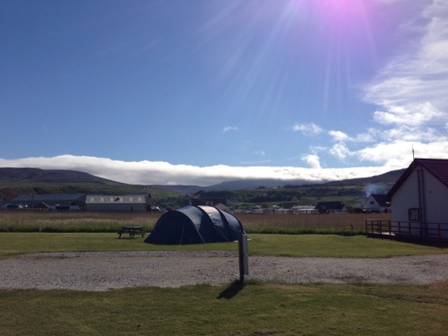 Uig campsite - clouds rolling in over hills