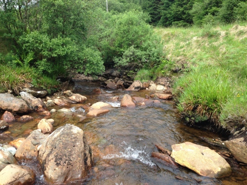 Bathing on a cold Scottish mountain stream, another great experience