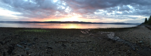 Sunset beach panorama