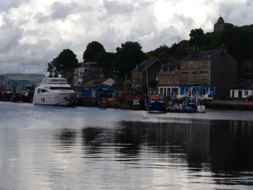 Tarbert harbour, large motor cruiser