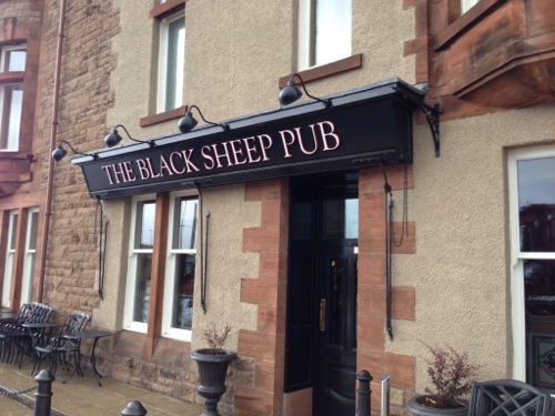 Welcome break at the Black Sheep Pub, Campbeltown