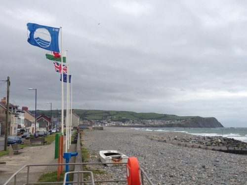 A blustery day in Borth - big hill coming up