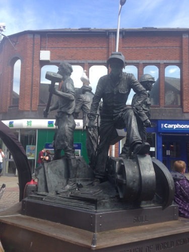Barrow-in-Furness - statue commemorating engineering that goes on it the city