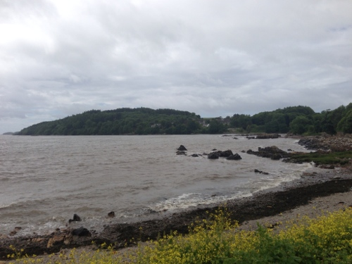 Grey skies and slightly choppy sea
