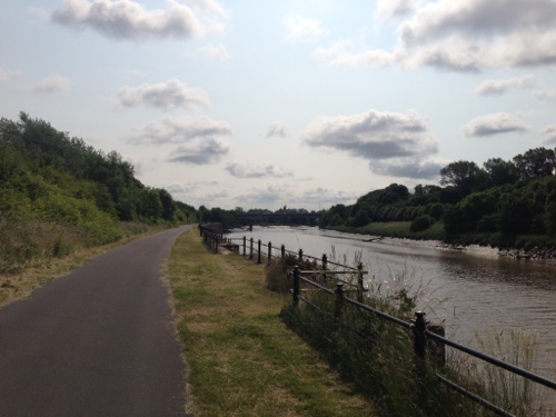 Guild Wheel cycle path alongside the River Ribble