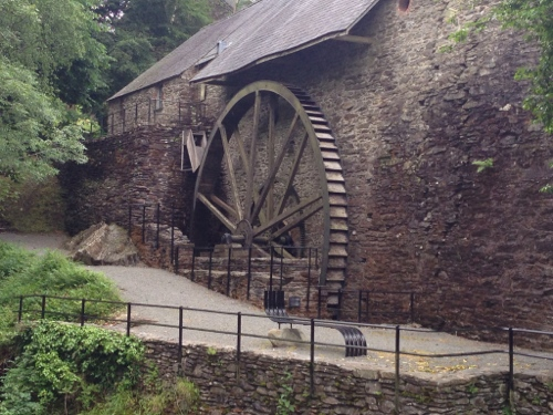Iron smelting building and waterwheel
