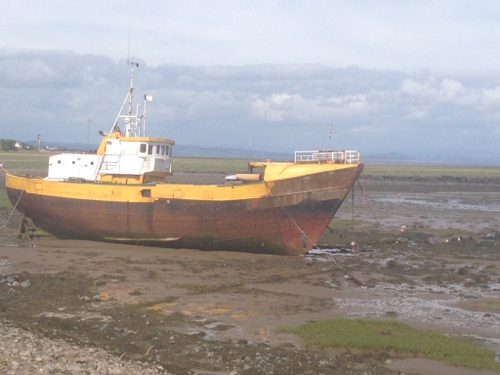 Ship moored off causeway to Roa Island