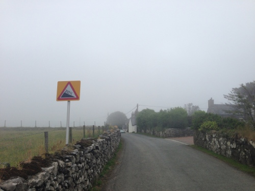 Steep and foggy hills out of Aberdaron
