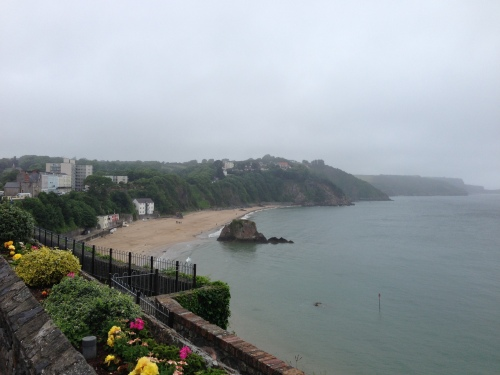 Tenby Beach, not many people sunbathing today