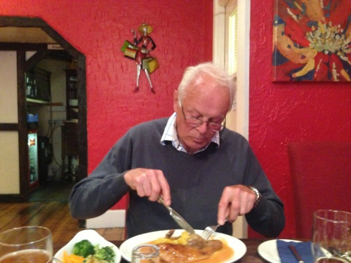 Dad tucking in to duck if I recall correctly