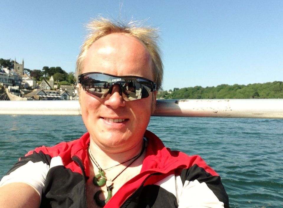 Fowey - me chilling out on the boat