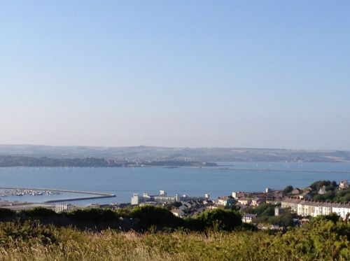 View from the top of Portland looking towards Weymouth
