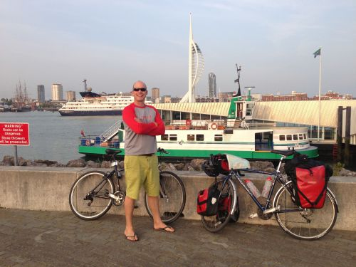 Mark with bikes at ferry port
