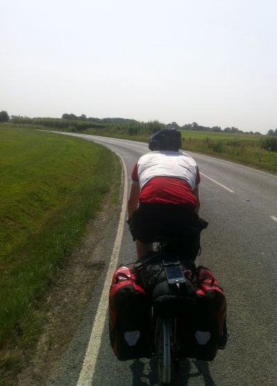 Me riding down the A259 - not a great road for a cyclist