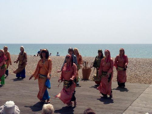 Belly dancers on the beach