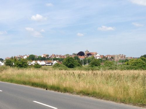 Approaching Rye - set on a slight hill above the marshes