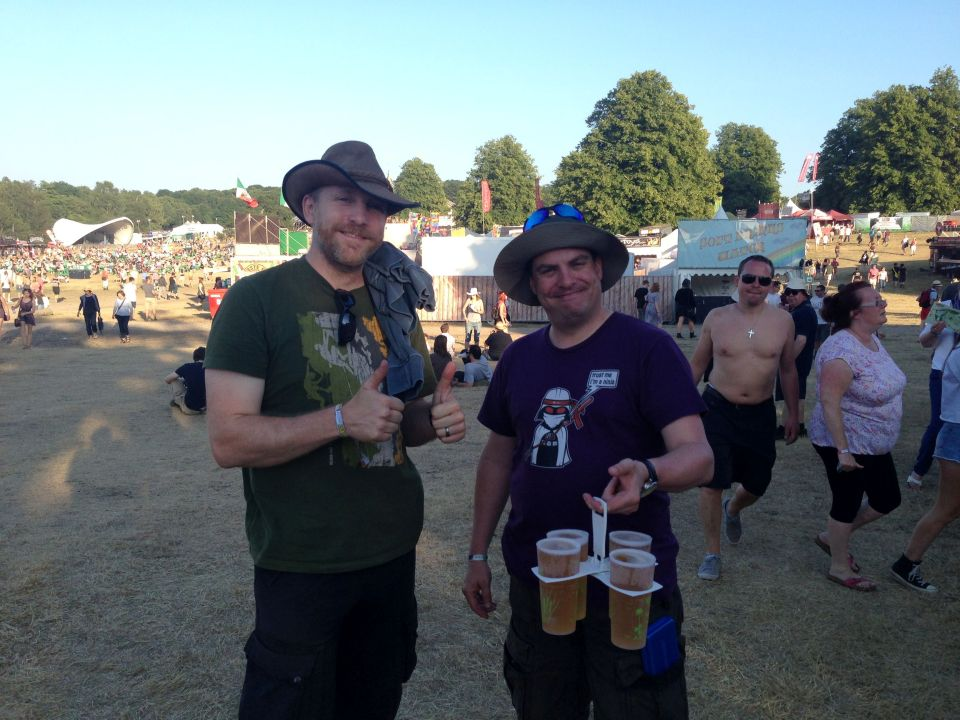Wayne and Nigel with genius beer carrying device