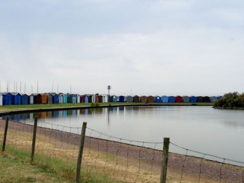 Colourful beach huts in Brightlingsea