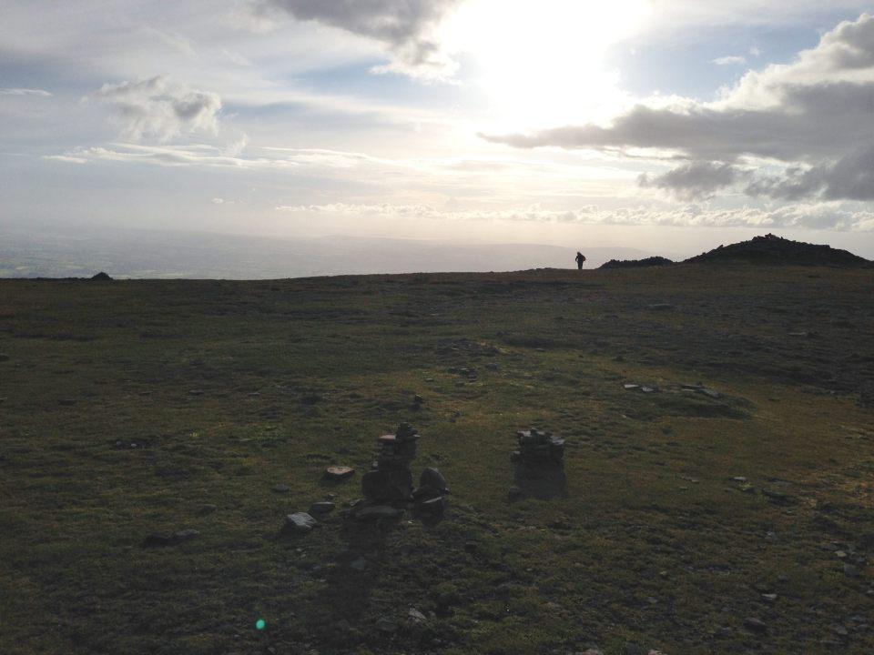 Ingleborough summit - looking towards Morecambe Bay and the sea