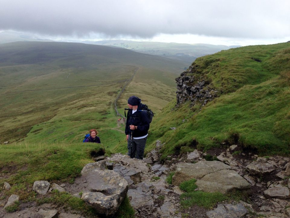 Pen y Ghent - up a steep bit in the rain