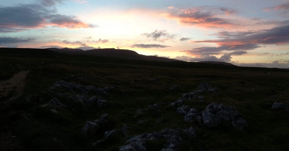 Sun sets over Ingleborough