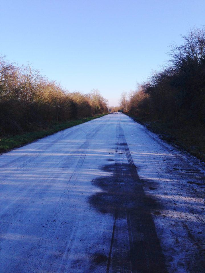 Shaded roads didn't thaw today - icy patches abound